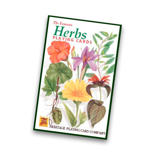 deck of playing cards featuring pictures of herbs